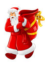 Christmas Santa Claus walking with big empty sack Stock Images