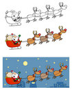 Christmas santa clause sleigh with reindeer Royalty Free Stock Photos