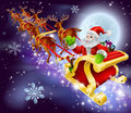 Christmas santa flying in his sled or sleigh cartoon illustration of claus through the night sky with moon the background Royalty Free Stock Photo