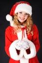 Christmas santa girl with gift