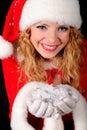 Christmas santa girl on black
