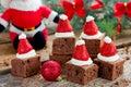 Christmas Santa hat brownies dessert idea , cake brownie with cr Royalty Free Stock Photo