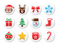 Christmas santa icons set xmas holidays round labels collection Royalty Free Stock Image