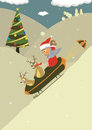 Christmas santa illustrations holiday winter reind reindeer humor happiness cartoons Royalty Free Stock Photos
