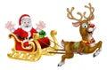 Christmas Santa and Reindeer Sleigh Royalty Free Stock Photo