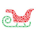 Christmas santa sleigh icon made of circles Stock Images