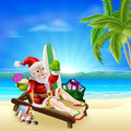 Christmas santa tropical beach scene illustration of summer relaxing in on the under a coconut tree with surf board gift sack and Royalty Free Stock Images