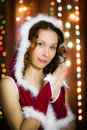 Christmas santa woman praying Royalty Free Stock Photos