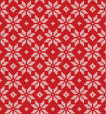 Christmas Scandinavian flat style red knitted seamless pattern w Royalty Free Stock Photo