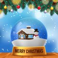 Christmas scene home snowman snow globe with blue sky background and fir leaves garland and wood table perfect festive decoration Royalty Free Stock Photo