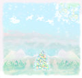 Christmas scene with santa and winter landscape raster Royalty Free Stock Image