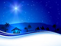 Christmas scene on sky background christian night with shining star illustration Stock Photo