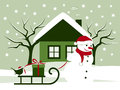 Christmas scene snowman pulling sledge with gift and bird Royalty Free Stock Images