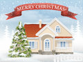 Christmas scene suburban house and fir tree Royalty Free Stock Photo