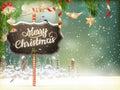 Christmas scene, village. EPS 10 Royalty Free Stock Photo