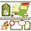 Christmas scrapbook set of design elements Stock Photos