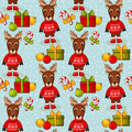 Christmas seamless background with deers vector pattern merry and happy new year and gifts on blue illustration Royalty Free Stock Photo