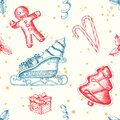 Christmas seamless background with hand drawn gingerbread, candy, santa`s sleigh, gifts and holly. New Year. Vintage pattern can Royalty Free Stock Photo