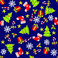 Christmas seamless background pattern on blue Royalty Free Stock Photography