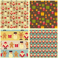 Christmas seamless background set of vintage backgrounds signs of santa claus snowman deer and gingerbread on retro Stock Images