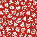 Christmas seamless background white symbols on red Royalty Free Stock Photo