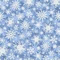 Christmas seamless blue and white background with snowflakes. Vector illustration. Royalty Free Stock Photo