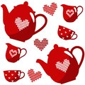 Christmas seamless coffee tea set isolated illustration with nordic pattern red knitted Royalty Free Stock Image