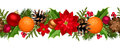 Christmas seamless garland with balls, holly, poinsettia, cones and oranges. Vector illustration.