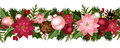Christmas seamless garland with balls, holly, poinsettia and cones. Vector illustration.