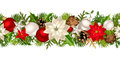 Christmas seamless garland with red and white decorations. Vector illustration.
