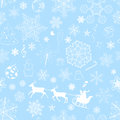 Christmas seamless light blue pattern with snowflakes and xmas symbols on background Stock Image