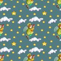 Christmas seamless pattern with angel playing a fife Royalty Free Stock Photo