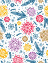 Christmas seamless pattern background with snowflakes and stars Royalty Free Stock Photo