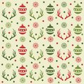 Christmas seamless pattern with balls, reindeer horns and snow