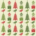 Christmas seamless pattern with balls, Christmas trees, gifts a
