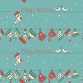 Christmas seamless pattern with birds socks and h hats on the turquoise background snowfall Stock Photography