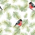 Christmas seamless pattern with bullfinches and fir branches 2
