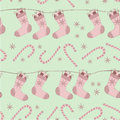 Christmas seamless pattern cartoon socks canes Royalty Free Stock Photography