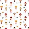 Christmas seamless pattern with children singing carols