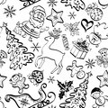 Christmas seamless pattern contour cartoon for holiday design black contours on white background Royalty Free Stock Photos