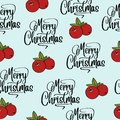 Christmas seamless pattern with cranberries