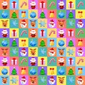 Christmas seamless pattern with cute cartoon characters on colorful background. Flat design without transparency.