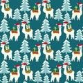 Christmas seamless pattern with cute llamas