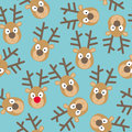 Christmas Seamless Pattern with Deers Faces in Flat Style Royalty Free Stock Photo
