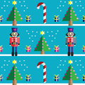 Christmas Seamless pattern with geometrical nutcracker soldier  with  gifts with ribbon, snow, sweets,  xmas trees Royalty Free Stock Photo