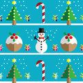 Christmas Seamless pattern with geometrical Snowman, christmas puddings ,  gifts with ribbon, snow,   xmas trees with lights Royalty Free Stock Photo