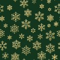 Christmas seamless pattern with gold snowflakes on green background. Holiday design for Christmas and New Year