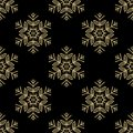 Christmas seamless pattern with golden snowflakes on black background. Vector illustration.