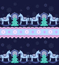 Christmas seamless pattern happy new year horses Royalty Free Stock Photos