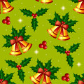 Christmas seamless pattern with holly and bells texture berries gold on green background Royalty Free Stock Images